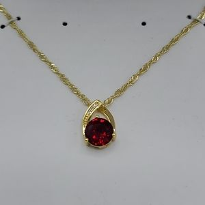 Charter Club Gold Toned Necklace Red Rubi Teardrop